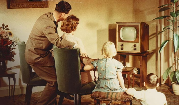 familie vorm philips tv